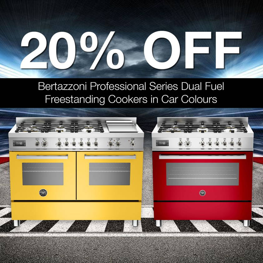 20% Off Bertazzoni Professional Series Dual Fuel Freestanding Cookers in Car Colours